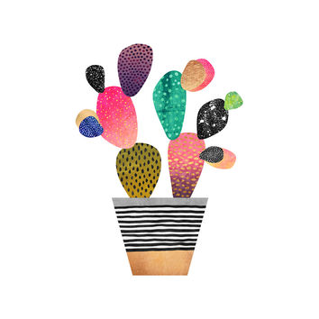 Happy Cactus Hex Wall Decal