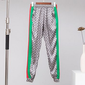 GUCCI Fashion Print Side Stripe Pants Trousers Sweatpants