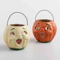 Vintage Pumpkin Paper Pulp Containers Set of 2