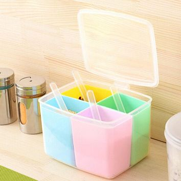 Spices Storage Box Transparent Spice Jar Set Simple Colorful Lid Seasoning Box Kitchen Tools Salt Condiment Cruet