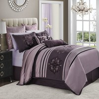 Jolie 4-pc. Reversible Comforter Set - Cal. King (Purple)