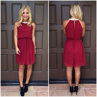 Precious As A Pearl Dress - BURGUNDY