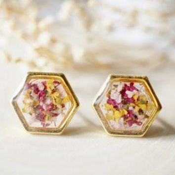 Real Pressed Flowers and Resin Hexagon Gold Stud Earrings in Yellow Pink Magenta