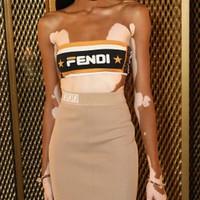 FENDI Newest Fashionable Women Sexy Sleeveless Strapless Top Long Skirt Two-Piece