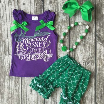 Summer clothes mermaid kisses starfish wishes outfit with accesssories