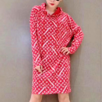 LV Supreme Fashion Embroidered tea red hooded sweater dress