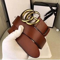 GUCCI classic tide brand wild simple men and women smooth buckle belt