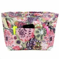 kilofly Purse Insert Organizer, Handles Compartments, Cornflowers, with Cosmetic Bottles Pack