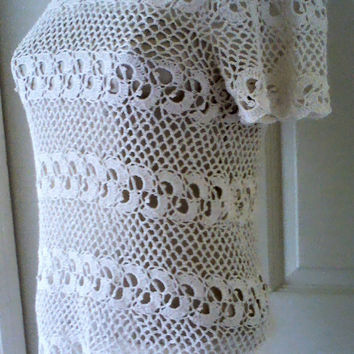 Irish Crocheted lace  Short Sleeved Tunic, Beach cover up REDUCED BY 20%