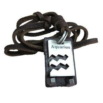 soft leather necklace AQUARIUS constellation necklace men's leather long necklace, women's leather necklace friendship gift  FPL-35