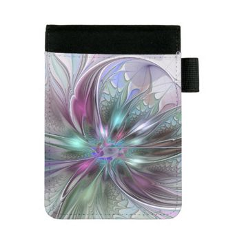 Colorful Fantasy, abstract and modern Fractal Art Mini Padfolio