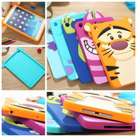 New arrive festival gift Cute lovely 3D Cartoon Minnie Sulley tiger cat silicon Shell Case cover For iPad mini 2 Free shipping