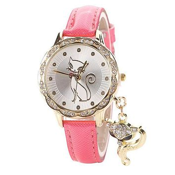 Lady Girl Cute Cat WristWatch