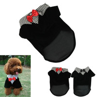 2015 Fashion Small Pet Dog Clothes Western Style Men's Suit Bow Tie Puppy Costume pet dog clothes ropa perro  XT