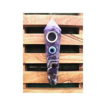 Dream Amethyst Evil Eye Pipe