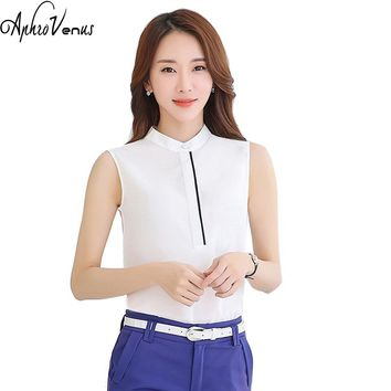 Summer Women Sleeveless Chiffon Blouse Small Stand Collar Casual Shirt Female Blusa Elegant Work Wear Female Temperament Tops