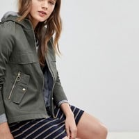 Esprit Canvas Zip Jacket With Hood at asos.com