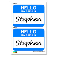Stephen Hello My Name Is - Sheet of 2 Stickers