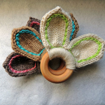 Teething Ring Bunny Ears maple and wool - organic baby toy, maple wood, Easter basket, wool rabbit, wooden teether, organic teething