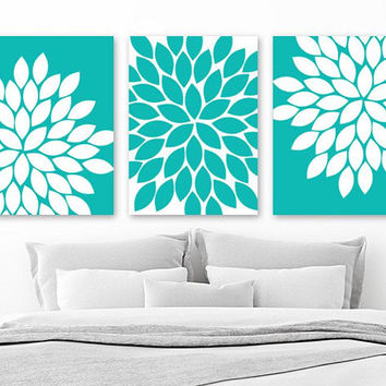 Turquoise Flower WALL ART, CANVAS or Prints, Turquoise Bathroom Decor, Turquoise Bedroom Wall Decor, Turquoise Flower Pictures, Set of 3