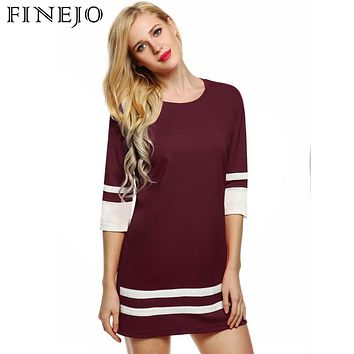 FINEJO 2017 Women Sexy Dress Summer Ropa Mujer Casual Short Solid 3/4 Sleeve Party Black Blue Pink Dress S-XL Plus Size Vestidos