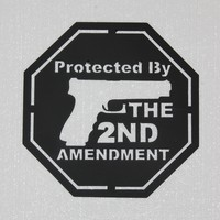 Protected By The 2nd Amendment Sign Metal Wall Art Home Decor