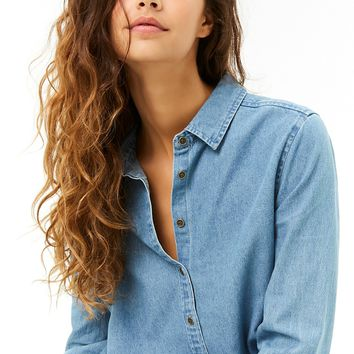 Denim Button-Front High-Low Shirt