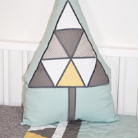 Tree Pillow,  Triangle Tribal Cushion,  Stuffed Evergreen   for Native American  Nursery,Tribal Kids Roomn Decor, teal yellow gray