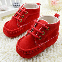 Baby Shoes Booties Lace Soft Red Cotton Crib Shoes