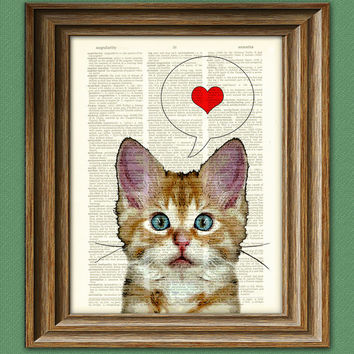 Cat Print Art I LOVE YOU Kitten kitty cat beautifully upcycled vintage dictionary page book art print