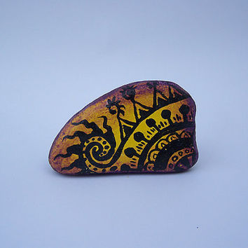 Henna Design Hand Painted Stone Art/Home Garden Decor