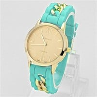 HauteChicWebstore WOMENS GENEVA CASUAL CHIC CHAIN LINK JELLY BAND WATCH - www.shophcw.com