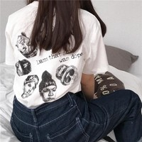 Women Casual Loose Personality Letter Character Pattern Print Short Sleeve Cotton T-shirt Top Tee