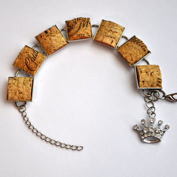 Wine Bottle Cork Bracelet with Princess Rhinestone by TipsyGLOWs