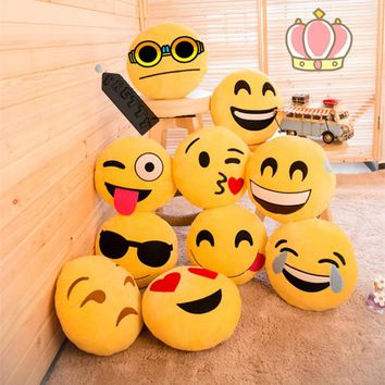 Yellow Round Emoji Pillow Smiley Emoticon Stuffed Plush Doll Hot Toys Soft Cute Cushion Pillow High Quality