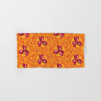 Orange And Pink Clover Abstract Floral Hand & Bath Towel by borianagiormova