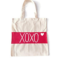 XOXO Red Heart Canvas Tote Bag Valentine's Day Gift Cotton Tote Bag Eco-Friendly Bag