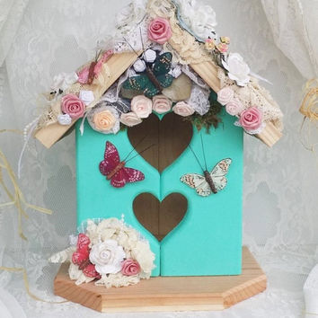 Aqua Home Decor, Turquoise Light Jade, Shabby Chic, Butterfly gift and decor, Romantic Victorian gift, Gift for her, Shabby gift & decor