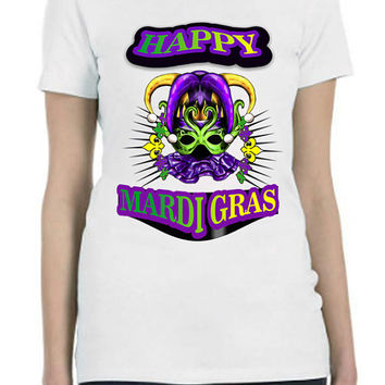 Mardi Gras Custom Printed  Shirt Jester Harlequin Mask   and fleur de lis designs...Free Shipping!!