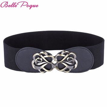 Women Belts Luxury Brand Ladies Girls Fashion Wide Metal Buckles Stretchy Womens Elastic Waist Belt Waistband Belts For Women