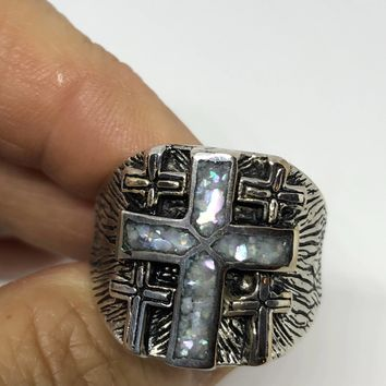 Vintage 1980's Gothic Southwestern Genuine Mother of Pearl inlay Cross Men's Ring