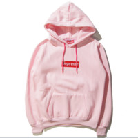 Supreme Tide brand autumn and winter street skateboard embroidery simple hooded sweater men