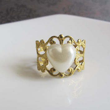 Lolita Victorian Style Heart Cabochon on Raw Brass Lace Filigree Bridal Wedding Ring. Miniature Heart. Kawaii Cute Simple Everyday Jewelry