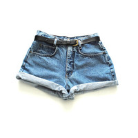 stone wash denim shorts early 90s grunge high waisted perfect fit jean shorts size 28