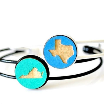 Custom Hand Painted Laser Engrave Wood State Bangle Bracelet - 23 Colors Available