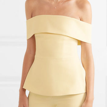 Safiyaa - Off-the-shoulder stretch-crepe peplum top