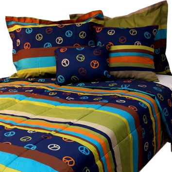 Peace Sign Bed Comforter Set Hippie Stripes Bedding