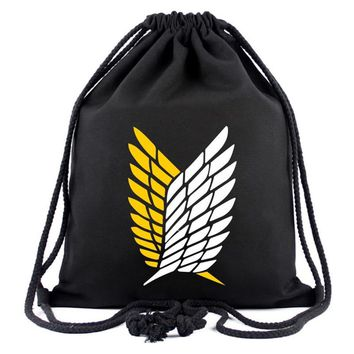 Cool Attack on Titan  Drawstring Bag Anime Cute Cartoon Canvas Backpack Travel Bags for Young Organizer Pouch Fashion Backpacks AT_90_11