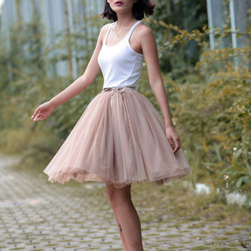 Tulle Skirt Tea length Tutu Skirt Knee length tulle tutu Princess Skirt Wedding Skirt in Khaki - NC455