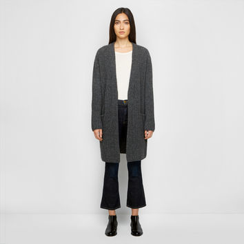 Ribbed Sweater Coat - Charcoal